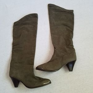 Shoes - Zodiac knee high boots gray suede cowboy western 9